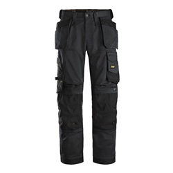 Snickers 62510404 Snickers AllroundWork Stretch Loose Fit Trousers with Holster Pockets - Black