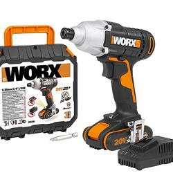 Worx WX291 20V MAX Cordless Impact Driver with 2.0Ah Battery, Charger and Case