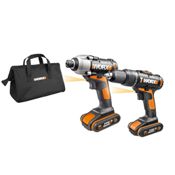 Worx WX938 20v MAX 2 Piece Kit with 2 x 1.5Ah Batteries, Charger and Bag