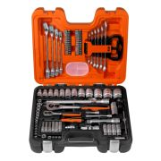 "Bahco S910 1/4"" & 1/2"" Drive + Combination Wrench 91 Piece Socket Set"