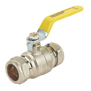 Professional GBLBV15 Lever Valve Gas 15mm Yellow