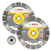 Bosch 230 x 22.23mm Diamond Blade & SDS Clic Nut - Twin Pack