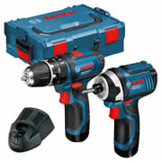 Bosch 12V GSB GDR 12v 2 Piece Kit with 2 x 2Ah Batteries, Charger and Case