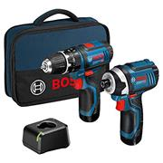 Bosch 12VGSRGSBTB Bosch 12v  Combi and Impact Driver Twinpack 2 x 2ah Batteries, charger and  toolbag