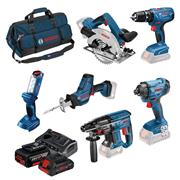 Bosch BAG6DS2 18v 6 Piece Kit with 3 x 4Ah Batteries, Charger and Bag