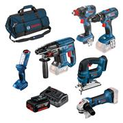 Bosch BAG6DS3 18v 6 Piece Kit with 3 x 4Ah Batteries, Charger and Bag