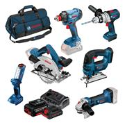 Bosch BAG6DS4 18v 6 Piece Kit with 3 x 4Ah Batteries, Charger and Bag