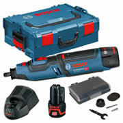 Bosch GRO 12V-35 12v Die Grinder with 2 x 2Ah Batteries, Charger, Case and Accessory Set