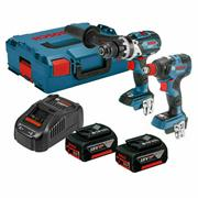 Bosch GSBGDX52 Bosch 18V 2 Pce Kit - Brushless Combi & Impact Driver/Wrench with 2x 5Ah Batteries, Charger and Case