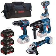 Bosch  Bosch 4 Piece 18V Cordless Kit Combi Impact  SDS+ drill Grinder with 3x Batteries, Charger and Bag