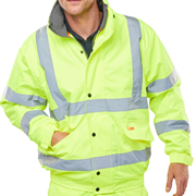 BSeen CBJFLSY BSeen Fleece Lined Hi-Vis Bomber Jacket - Saturn Yellow