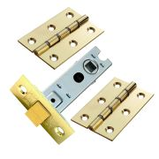 Carlisle Brass HDSW1BTLPK Carlisle Brass Double Steel Washered Chrome Butt Hinge & Mortice Latch Pack