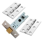 Carlisle Brass HDSW1CPBTLPK Carlisle Brass Double Steel Washered Chrome Butt Hinge & Mortice Latch Pack