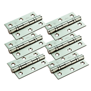 Eurospec HIN1322/7SSSPK6 Eurospec Grade 7 Ball Bearing Hinge 76mm x 51mm x 2mm - Pair Satin Stainless Steel - Pack of 6