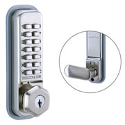 Codelock CL255 SS KEY 200 Series Mortice Latch with Dual Function Backplate - with Key Override