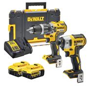 Dewalt BXR2P 18v XR Brushless 2 Piece Kit with 2 x 5Ah Batteries, Charger and Case