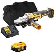 Dewalt DCG405FITS Dewalt DCG405FITS 18V XR Brushless Flathead 125mm Grinder with 1 x 4Ah Battery, Charger and Bag