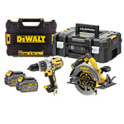 Dewalt DCK2056T2T-GB 54v XR FLEXVOLT 2 Piece Kit with 2 x 2Ah Batteries, Charger and Cases