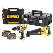 Dewalt DCK2057T2T-GB 54v XR FLEXVOLT 2 Piece Kit with 2 x 2Ah Batteries, Charger and Cases