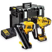 Dewalt DCK264P2 18v XR 1st Fix Framing and 2nd Fix Nailer Kit with 2 x 5Ah Batteries, Charger and Case
