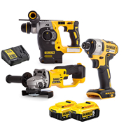 Dewalt DCK305P2T Dewalt DCK305P2T 18V XR Brushless 3 Piece Kit with 2 x 5Ah Batteries, Charger and Cases