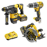 Dewalt DCK357T2 54v XR FLEXVOLT 3 Piece Kit with 2 x 2Ah Batteries, Charger and 2 x Cases