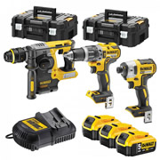 Dewalt DCK368P3T Dewalt DCK368P3T 18V XR 3 Piece Kit with x 5Ah Batteries, Charger and 2 Cases