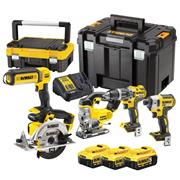 Dewalt DCK551P3T 18v XR 5 Piece Kit with 3 x 5Ah Batteries, Charger and 2 x Cases