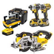 Dewalt DCKTSTAK 18v XR 4 Piece Kit with 3 x 5Ah Batteries, Charger and 2 x Cases