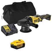 Dewalt DCM848ITS 18v XR Brushless 125mm Dual Action Polisher with 1 x 4Ah Battery, Charger and Bag