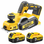 Dewalt DCP580P2 18v XR Brushless Planer with 2 x 5Ah Batteries, Charger and Case