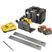 Dewalt DCS520T2 54v XR FLEXVOLT Plunge Saw with 2 x 2Ah Batteries, 2 x Rails, Charger and Case