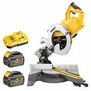 Dewalt DCS778T2 54v XR FLEXVOLT 250mm Compound Mitre Saw with 2 x 2Ah Batteries and Charger