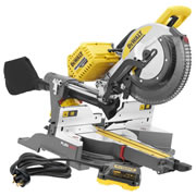 Dewalt DHS780NPK2 Dewalt 54v FlexVolt Li-ion Cordless 305mm Mitre Saw (Body) c/w 240v Mains Adaptor