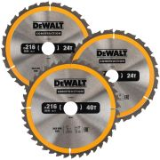 Dewalt DT1962-QZ Construction 216mm Circular Saw Blade Triplepack