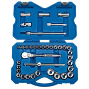 "Draper 02359 (H37AMN) Draper 37 Piece 1/2"" Square Drive MM/AF Combined Socket Set"