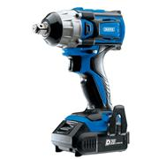 Draper 55343 20v D20 Brushless 1/2'' Impact Wrench with 2 x 2Ah Batteries, Charger and