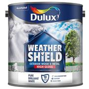 Dulux  Dulux Pure Brilliant White Weathershield High Gloss Paint (2.5 Litre)