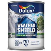 Dulux  Dulux Weathershield Quick Dry Undercoat Pure Brilliant White Paint (750ml)