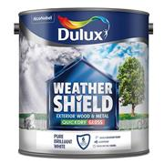 Dulux  Dulux Weathershield Quick Dry Gloss Pure Brilliant White Paint (750ml)