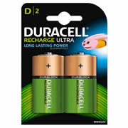 Duracell HR20B2 Duracell Recharge Ultra D Batteries Pack of 2
