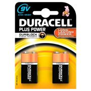 Duracell MN1604B2PP Duracell Plus Power 9V Batteries Pack of 2