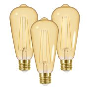 Energizer  LED 4W E27 ST64 Filament Gold 470Lm 2200K Light Bulb - Pack of 3