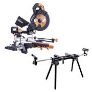 Evolution R255SMSPLUSPK Evolution R255SMSPLUSPK 255mm Sliding Mitre Saw With Stand