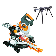 Evolution RAGE3S300PK 210mm Multipurpose Sliding Mitre Saw & Stand Pack