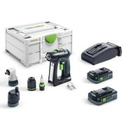 Festool C18HPC 4.0 I-SET Festool C18 18V Brushless Combi Drill with 2x 4.0Ah Batteries Charger, Case & Chuck Attachments