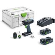 Festool 576447 T 18+3 Festool T 18+3 Bushless Combi Drill with 2x 4.0Ah Batteries, Charger and Case