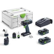Festool T18+3HPC 4.0 I-SET Festool 18v Drill Driver with 2 x 4.0Ah Batteries Charger and Case