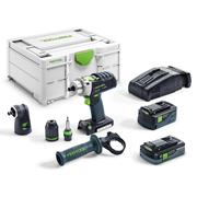 Festool PDC18/4 5.2/4.0 I-SET-SCA Festool 18v Quadrive Combi Drill with 1 x 5.2Ah 1 x 4.0ah Batteries Charger and Case