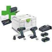 Festool 577202 Festool Drill & Impact Driver with 2x 3.1Ah Batteries, Charger, Case & Accessory Packs
